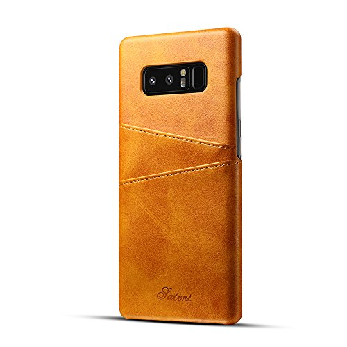 Samsung Galaxy Note 8 Case ,TACOO Soft Pu Leather Slim Fit Protective Durable Fashion Two Card Slots Khaki Phone Cover for Samsung Galaxy Note 8 2017