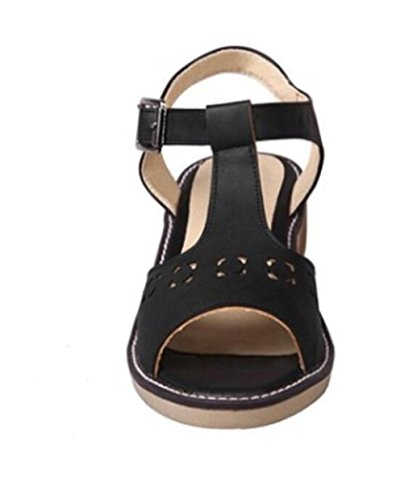 SHFANG Sandalias de las señoras verano simple ocio inferior plano sandalias de las mujeres cinturón de la hebilla del dedo del pie del rocío Black