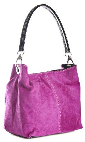 Clearance Slouch Italian Mini Suede Magenta Z Pink DEMI Strap Hobo LIATALIA Real Single Womens Bag Leather q1ztxpnHOp