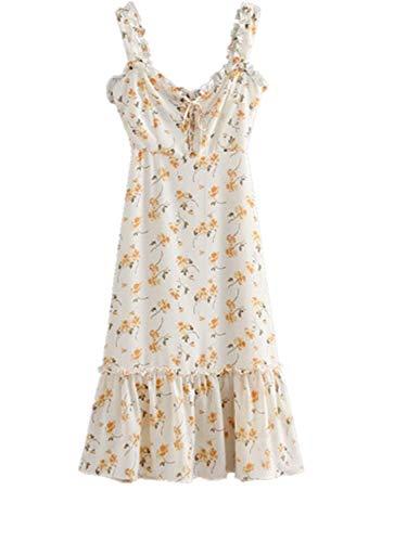 Dress Yellow Abito Ruffled Moda Hem Print Lizes maniche Front Bandage Dress e senza Dress Dress sexy Sling Fashion 40S6wTq