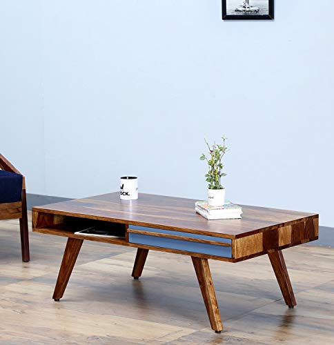 The Home DEKOR Coral Solid Wood Coffee Table Two Drawers, Open Shelves with Storage, Natural Finish