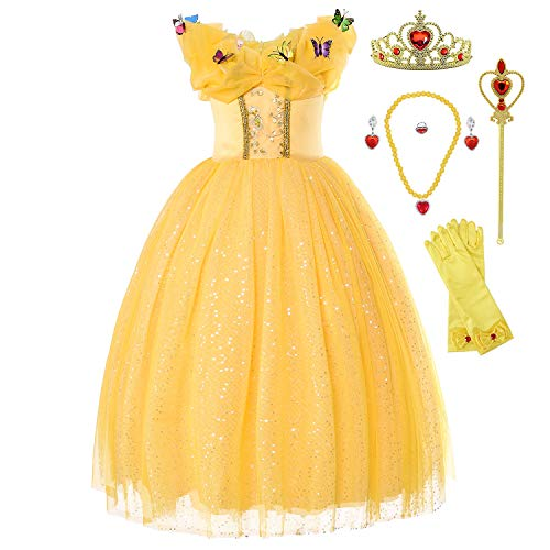Princess Belle Costume Generic Deluxe Party Fancy Dress Up for Girls with Rich -
