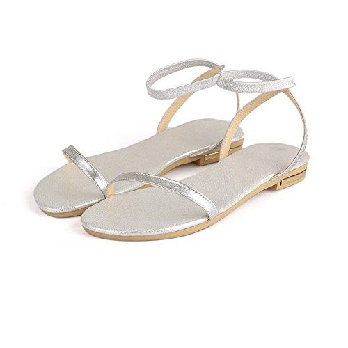 On Heels Pull Open Solid Toe Silver Sandals Women's Low VogueZone009 XqEw1II