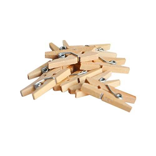 """Adorox Natural Wooden Mini 1"""" inch Spring Clothespins Clothes Pins Wood Crafts Toys Party Favors (50 Pieces)"""