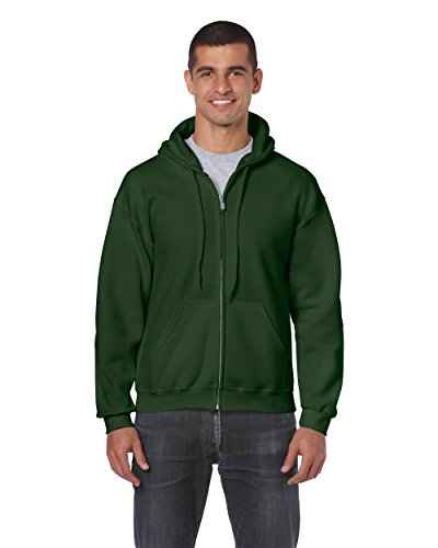 Gildan 18600 – Classic Fit Adult Full Zip Hooded Sweatshirt Heavy Blend – First Quality – Forest Green – 5X-Large
