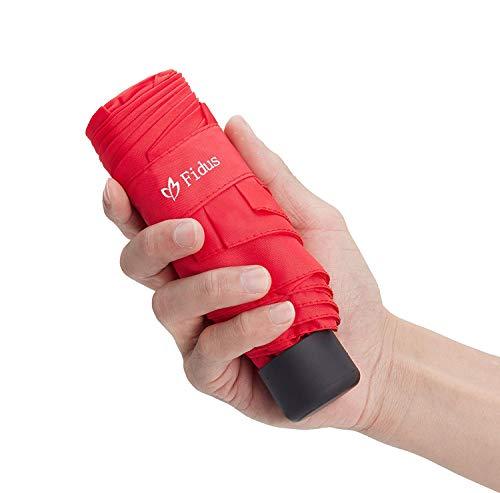 Fidus Mini Compact Sun&Rain Travel Umbrella - Lightweight Portable Umbrella with 95% UV Protection-Bright Red