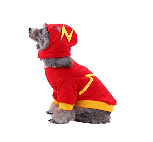 MEIQIPETBABY® Christmas Fashion Pet Small Dog Clothes Puppy Funny Pet Cosplay Dress Halloween Costume Apparel Lightning S ()