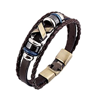 Weimay Cuff Bracelet Leather Adjustable Wristband (Black) by Weimay