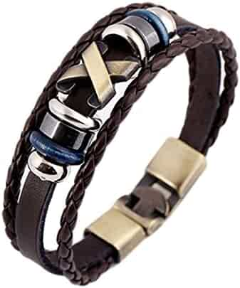 Weimay Cuff Bracelet Leather Adjustable Wristband (Brown)
