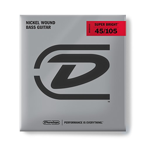 Dunlop DBSBN45105 Super Bright Bass Strings, Nickel Wound, Medium, .045-.105, 4 Strings/Set ()