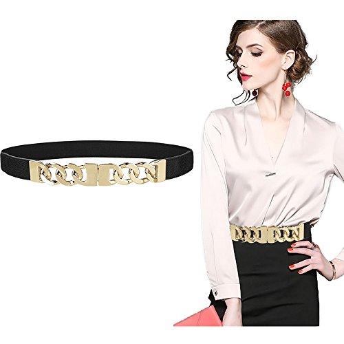 VITORIA'S GIFT Metal Fashion Skinny Leather Dress Belt Golden chain decorative ladies elastic Waist - Metal Fashion