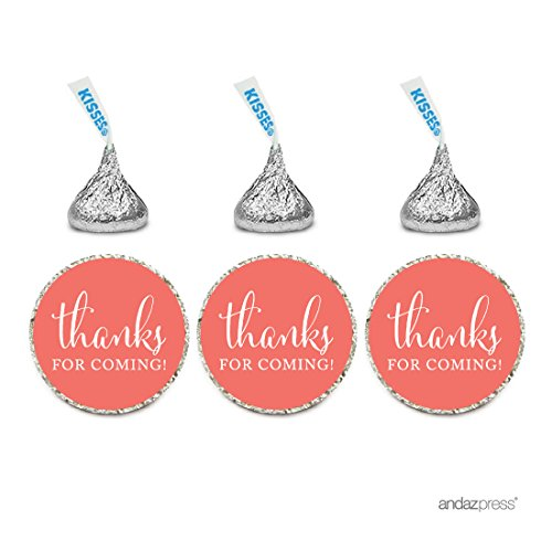 Andaz Press Chocolate Drop Labels Stickers, Thanks for Coming!, Deep Coral, 216-Pack, for Wedding Birthday Party Baby Bridal Shower Hershey's Kisses Party Favors Decor Envelope Seals for $<!--$7.99-->