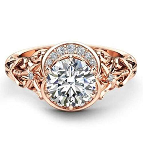 Chuan Han Plated 14K Rose Gold Plum Zircon Ring Female Flower Ring Hand Jewelry, Boho, Party Flat Ring, Claw Set, Plant, Micro-Set, Transparent & Rose Gold Plated, US 7
