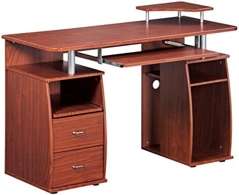 Complete Computer Workstation Desk With Storage. Color Mahogany