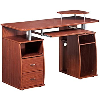 Etonnant Complete Computer Workstation Desk With Storage. Color: Mahogany