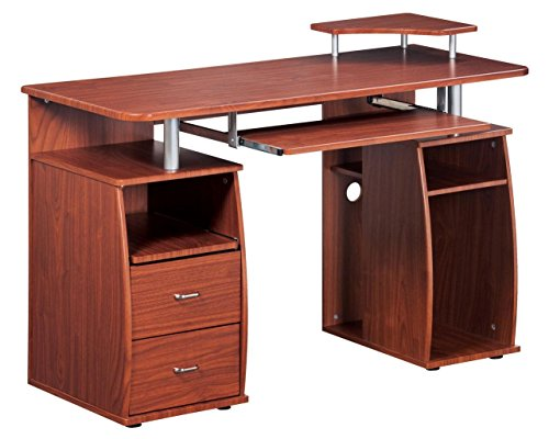 Complete Computer Workstation Desk With Storage. Color: Mahogany (Computer Desk Drawer With)
