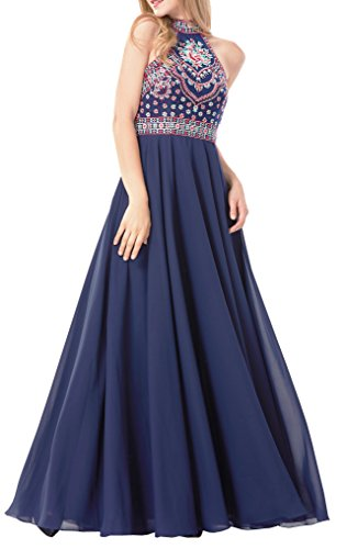 adb5914612c LOVIERA Women s Homecoming Dresses Prom Dress Evening Gowns Bridesmaid  Dresses Halter Neck Embroidery Open Back 2018