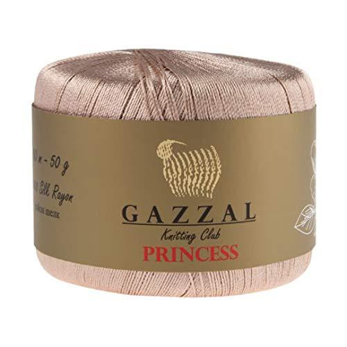 - 2 Balls Gazzal Princess Floss Thread, 100% Rayon, 1.76 Oz (50g) / 284 Yrds (260 m), Yarn Weight 0: Lace, Beige - 3011