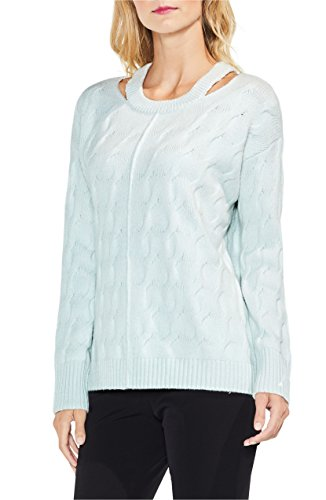 Vince Camuto Women's Keyhole Neck Cable Sweater Aqua ()