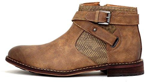 Bottine Marche Fermeture Chaussures Motard Hommes Boucle Éclair Décontracté Taille Beige Chic 6wd77q1xA