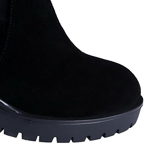 Heels Suede Platform Frosted and Black Zippers Boots High Allhqfashion Women's with Tq6Ipf