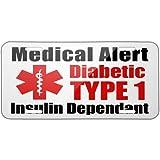 Medical Alert Red Diabetic Insulin Dependant TYPE 1 Metal License Plate 6X12 Inch