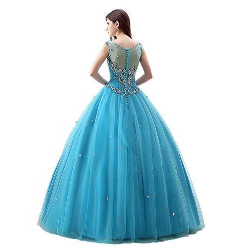 Kristall Rüschen Tüll Trägern engerla Blau Büste Frauen Illusion Kleid Ballkleid Quinceanera aPqwxgZ
