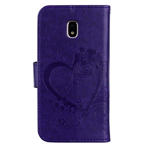 XIAOGUA Cases & Covers, Para Samsung Galaxy J7 (2017) / J730 (versión de la UE) Flores prensadas Mariposa Love Pattern Horizontal Flip Funda de cuero con soporte y ranuras para tarjetas & Cartera y ma Purple