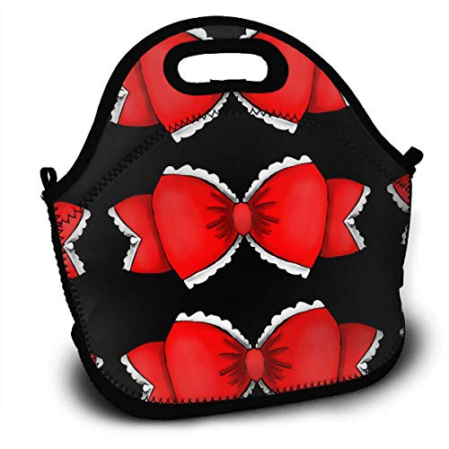 (YAIC ULI Red Bow Portable Carry Insulated Lunch Bag - Large Reusable Lunch Tote Bags for Women, Teens, Girls, Kids, Baby, Adults Outdoor Tour School Office Picnic Bag)