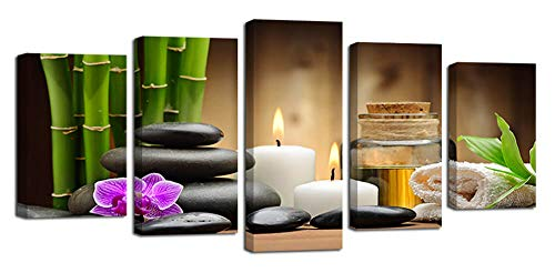 Ardemy Canvas Wall Painting Art Zen Stones Candle Botanical 5 Pieces, Stretched and Framed Spa Artwork Easy to Hang for Bedroom Bathroom Spa Decor (Waterproof, Hook Mounted, 1