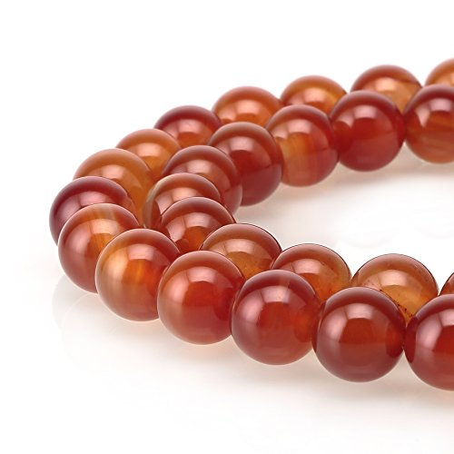 BRCbeads Carnelian Red Agate Gemstone Loose Beads Round 8mm Crystal Energy Stone Healing Power for Jewelry Making...