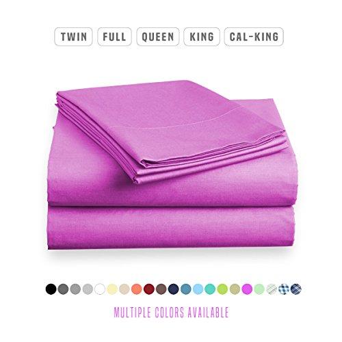 Luxe Bedding Sets - Microfiber Twin Sheet Set 3 Piece Bed Sheets, Deep Pocket Fitted Sheet, Flat Sheet, Pillow Case Twin Size - Purple