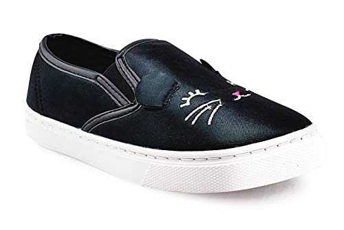 - JELLY BEANS Girls Slip On Casual Shoes Sneaker with Kitten Face Black Size 11