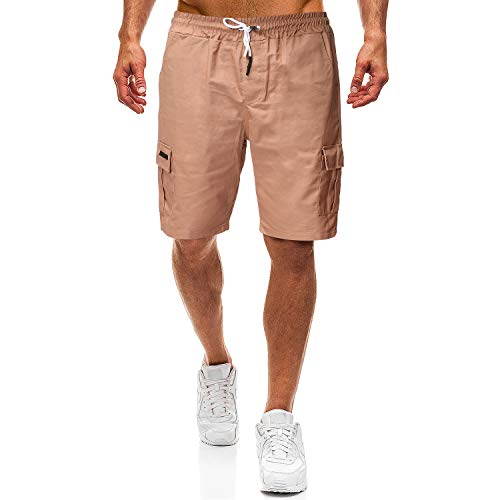 OSYS THX Mens Shorts Cotton Drawstring Beach Elastic Waist Multi Pocket Cargo Shorts