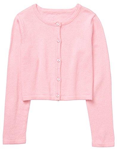 Gymboree Girls' Little Long Sleeve Classic Cardigan, Petal Pink, S (Girls Sweater Cardigan Pink)