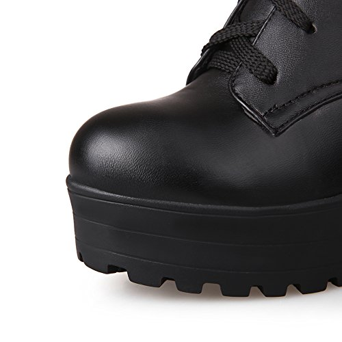 Round High Simple Toe Boots Knee High Chunky Lace Knight Platform Heels Up Womens Style Lucksender Black gwfA5YxnA