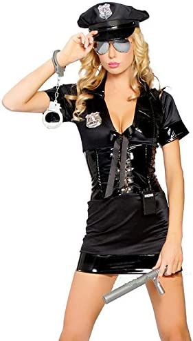 Nuevas señoras negro Policía Cop corsé cintura Mini vestido adulto ...