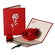 Rinastore Handmade Rose Greeting Cards 3D Pop Up Cards - Blank Cards - Envelopes Included (3D Rose cards 1Pack)