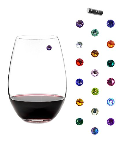 Swarovski Crystal Magnetic Wine Charms - Bundle of 3 Sets of 6 - Makes 18 Unique Glass Markers