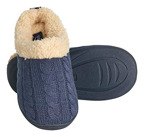 7cacee122b60 Seranoma Women s Indoor Fur Lined Cable Knit Faux Fur Slip On Slippers Clogs