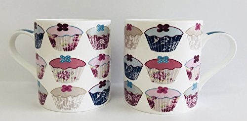 (Set Of 2 | Cupcake Design | White With Pink, Blue And Tan Fine Bone China Mugs | Holds 12 ounces | 4 inches x 3.75 inches)