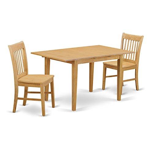 East West Furniture NOFK3-OAK-W 3-Piece Kitchen Nook Dini...
