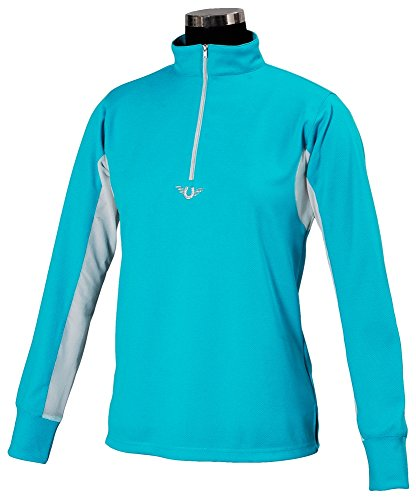 - TuffRider Children's Ventilated Technical Long Sleeve Sport Shirt with Mesh, Aqua, Large