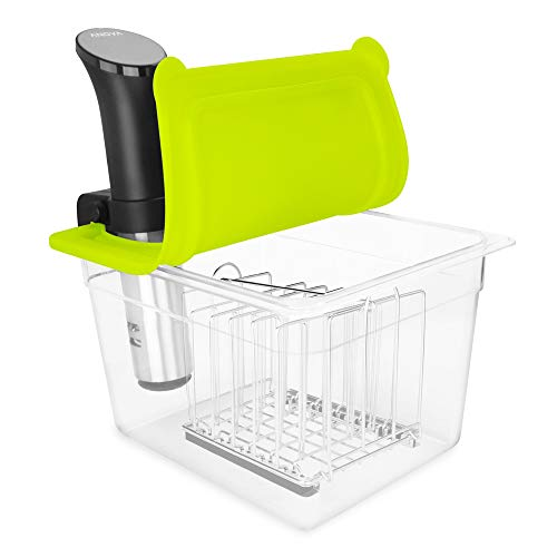 EVERIE Sous Vide Container 12 Quarts with Universal Silicone Lid and Sous Vide Rack Compatible with Anova All Models…