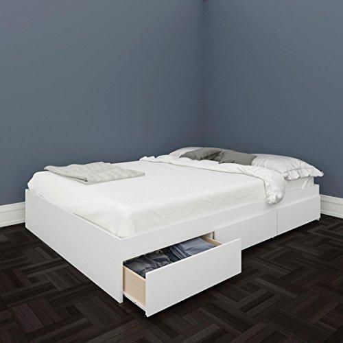 White Double Platform Bed - Nexera 225403 Blvd Full Size Storage Bed, White