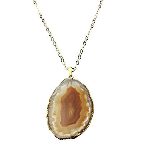 (Joyful Creations Agate Slice Goldtone Pendant 18k Gold-flashed Sterling Silver Necklace 30