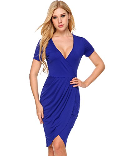 ANGVNS Womens Sexy Deep V Neck Asymmetrical Bodycon Wrap Dress with Front Slit