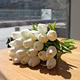 Mandy's 20pcs White Artificial Latex Tulips for