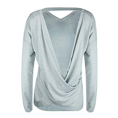 Printemps Tee Longues Irrgulier Casual Sweat Col Tops V Mode Manches Chemises Dos Gris Shirt Pulls Femmes Jumpers Automne T Hauts Blouse Nu Shirts rUqrF0