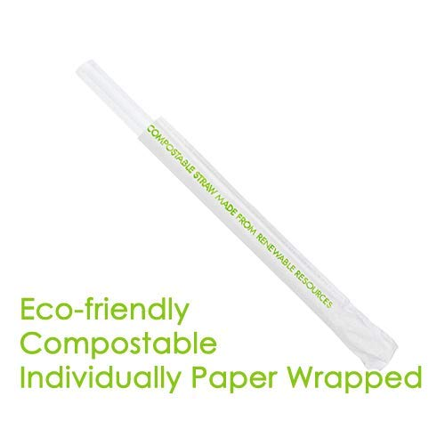 300 ct. Large Extra Wide Boba Straws - approx. 9'' x 0.5'' [ Individually Wrapped ]: Frosted. by Momoka's Apron